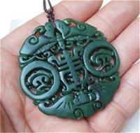 Wholesale NEW Hollow Out Carve NATURAL GREEN CHINESE XINJIANG HETIAN JADE PENDANT DRAGON