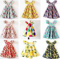 venda por atacado beach dress-INS Cherry lemon Algodão Backless DRESS meninas florais vestido de praia bonito verão bebê halter vestido miúdos vestido de flor vintage 12colors
