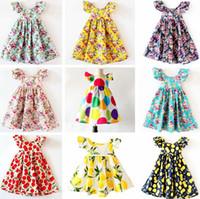 venda por atacado beach dress-INS Cherry limão Algodão Backless DRESS meninas florais vestido de praia bonito verão bebê halter vestido miúdos vestido de flor vintage 12colors