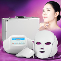 Wholesale 3in1 Light Photon Therapy LED Facial Mask Skin Rejuvenation PDT skin care beauty machine face neck use with Microcurrent Electrode Massage