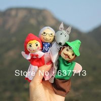 Cheap little red riding finger puppets 200pcs hood a set of 4 styles plush wooden lovely children favourite mother tell story 1206#06