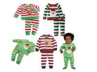 Санта костюмы Цены-Внешняя торговля вышивка Санта-Клаус мальчиков и девочек детские с длинными рукавами пижамы костюм Санта-Клауса костюм
