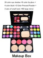 Wholesale 24 color eye shadow color lip gloss color blush Color Pressed Powder sets of small tools HD large mirror