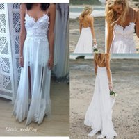 Wholesale Bohemian Summer Beach Grace Loves Wedding Dresses Boho Spaghetti Straps Sleeveless Chiffon Lace Sweep Brush Train Long Bridal Gowns