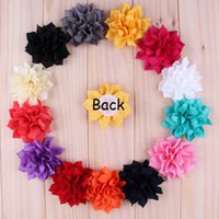 artificial lotus - 3 Multilayer Chiffon Lotus Flowers Artificial Flatback Fabric Pointed Flowers Children Hair Accessories Corsage Headbands Flower