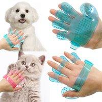 Wholesale 20 Pet Dog Cat Grooming Shower Bath Massage Brush Comb Hand Shaped Glove Comb Blue Pink