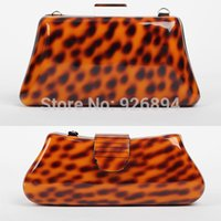 Wholesale European and American personality charm acrylic leopard handbag clutch evening bag ladies purse wallet mini chain shoulder bag