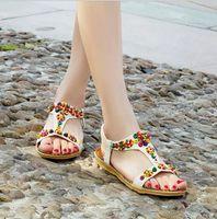 Wholesale 2016 New Bohemia Summer Beach Womens Flat Thong Sandals Flip Flops