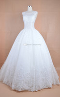 Wholesale In the new white tail wedding art applique slim sleeveless transparent lace style