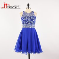 Wholesale Cheap Girls Tanks - Royal Blue Cheap Homecoming prom Dresses Fashion Tank Halter Beaded Cross Back Chiffon A-line Short Mini Modest For Girl Graduation Dresses