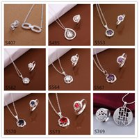 Wholesale women s sterling silver jewelry sets sets a mixed style EMS12 hot sale fashion gemstone silver Necklace Ring jewelry set