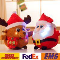Wholesale 2016 Christmas Toys Santa Claus Stuffed Doll Toys Cartoon Luminous Singing Doll Fashion XMAS Gift WX T81