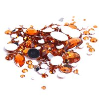 beads nail color - Orange Color Acrylic Glue On Loose Stones Non Hotfix Rhinestones Mixed Sizes Flatback Beads For Nail Phone Case DIY Decoration