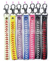 baseballs stainless steels - Fashion hot sale baseball keychain fastpitch softball accessories baseball seam keychains many colors to choose