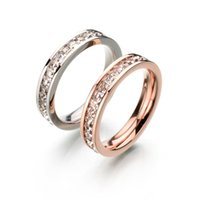 Wholesale Never Fade Classic Stainless Steel CZ Stone Ring Rose Gold Plated Wedding Ring For Christmas Gift