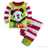 Wholesale New Christmas Mickey Pajamas outfits cartoon baby long sleeved pants set Tracksuit Mickey suit kids Clothing C1473