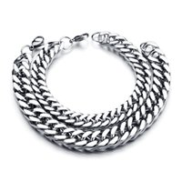 curb link chain - New Classic Stainless Steel Bracelets Curb Cuban Chain Men Bracelet Pulseira Masculina For Christmas Gift
