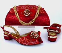 african style bags - 2016 Italy Design Summer Style Shoe And Matching Bag Set For Party African Style Women Shoes And Bag Set Red Colour