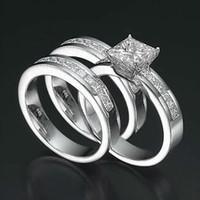 genuine diamond ring - ANNIVERSARY BANDS SET DIAMOND RING CT KT WHITE GOLD PRINCESS GENUINE