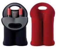 achat en gros de douilles de bouteilles en gros-Gros-Noir / Rouge Néoprène 2 Double Wine Transporteur sac de bière Bouteille Cooler Bag, manches, Holder, Insulator antichoc thermique bouteille transporteur