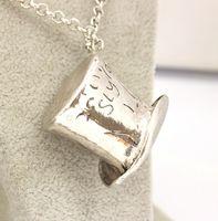 alice mad hatter - Alice In Wonderland necklace Mad Hatter hat Topper Pendants necklace unisex statement jewelry alloy Hat Charm Necklace LJJK472