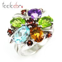 Cheap Genuine Amethyst Citrine Garnet Peridot Sky Blue Topaz Cocktail Ring Solid 925 Sterling Silver Fabulous