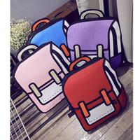 Wholesale New Fashion D Bags Novelty Back To School Bag D Drawing Cartoon Paper Comic Handbag Women Shoulder Bag Messenger Bags Birthday Gift