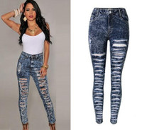 Wholesale Top Sales Broken Skinny Denim Jeans For Female Hollow out Ripped Distrressed women jeans Plus size Casual Denim Trousers