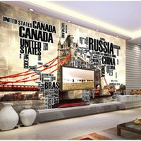 alphabet wallpaper - English alphabet Tower Bridge large world map wallpaper mural painting living room bedroom TV backdrop stereoscopic wallpaper