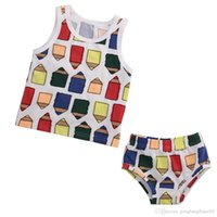 baby diaper shirts - 1 Y Baby Toddler Kids Pencil Summer Sleeveless T Shirt Diaper Cover Shorts Set
