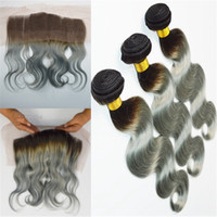 Cheap 10A Virgin Brazilian Silver Grey Ombre Hair With Lace Frontal Closure 13x4 Body Wave #1B Grey Two Tone Virgin Hair 3Bundles With Frontals