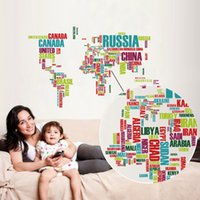 american english learning - Early Learning English alphabet colored world map background Wall Stickers new European and American fashion