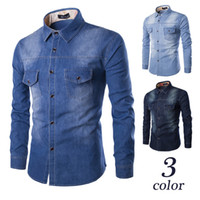 Wholesale 2016 New Fashion Men Jeans Shirt Cotton Slim Fit Brand Casual Denim Shirts Long Sleeve Mens Cowboy Shirt Camisa Jeans Masculina M XL