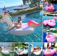 Wholesale Free DHL Shipping Hot Selling M Swan Inflatable Flamingo Floating Pontoon M Unicorn Floats for Adults and Kids with Retail Package