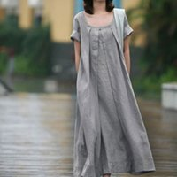 ankle length summer dress - 2016 Spring And Summer Women Dress Cotton And Linen Dress European And American Plus Size Loose Casual Artistic Dress Vestidos