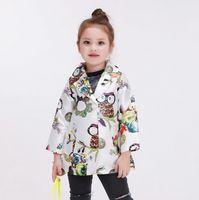 Wholesale New Style Spring Autumn Print Overcoat Scrawl Style Wind Coat Korean Style Soft Overcoat Girls Coat