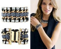 Wholesale Braided Tempest Bracelet Rectangle Crystal Charm Bracelets Gold Plated Brown Ribbon Popular for Lady