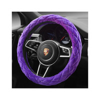 Wholesale Luxury Anti slip CM Purple Plush Soft Auto Car Steering Wheel Cover Cap Case very nice