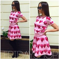 Wholesale New Women Summer Dress fashion Short Heart print T shirt and Skirt Set Piece Set Tracksuits Sport Suit