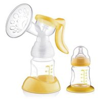 Wholesale 180ml Manual Breast Pump Feeding Pump Baby Milk Silicon PP Material BPA Free With Milk Bottle Yellow