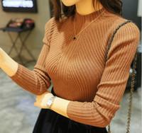 acrylic knitwear - 2016 Women s Autumn Winter Mid Turtleneck Sweaters Knitted Pullovers Long Sleeve Slim Soft Strech Cashmere Knitwear Pulls Jumper FS0814