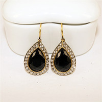 allergic to gold plated jewelry - Black Temptation retro style double row black diamond resin water drop alloy Drop Earrings female section are not allergic to jewelry