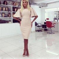 bell formal wear - European Style Ladies Office Dress Elegant Slim Formal Party Dress O Neck Bell Short Sleeve Knee Length Bodycon Dress Workwear ZSJF0422
