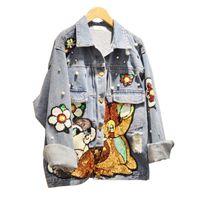 Wholesale 2017 New Fashion Autumn Sequins Outwear Full Sleeve Turn down Collar Coat Carton Print Jacket Plus Size Denim Jacket
