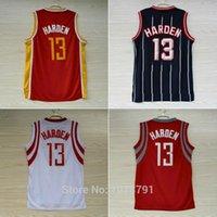 Wholesale Houston James Harden Jersey Embroidery Logos James Harden Vintage Retro Throwback Basketball Jersey Blue Red White Size S XXL