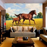 animal wood cover - Custom Large Murals Environmental Non woven TV Backdrop Wallpaper Living Room Sofa Bedroom Wall Covering Animal Horse Wallpaper