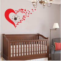 Wholesale DIY Removable HEART Artistic Wall Hanging Clocks Mechanism Wall Clock Sticker for Wedding decorations
