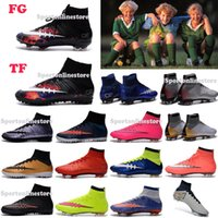 Wholesale Children Soccer Shoes Kids Soccer Cleats CR7 Cristiano Ronaldo Men Mercurial Superfly FG TF High Top Youth Boys Football Boots Women Turf