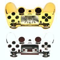 achat en gros de boutons recouverts kit-Boîtier complet Shell Coque Skin Cover Button Set avec plein bouton Mod Kit remplacement pour Playstation 4 PS4 Controller Gold Sliver