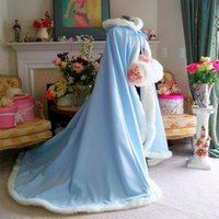 Wholesale 2017 NEW Warm Bridal Cape Wraps Custom Made Winter Wedding Cloak Cape Hooded with Fur Trim Long Bridal Wraps Winter Jacket Coat for Bride